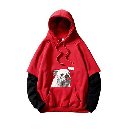 AIMEE7 Vetement De Sport Homme Académie Sweats à Capuche Chiot Impression Faux Deux pièces Sweatshirt Grande Taille Haut (Rouge,L)