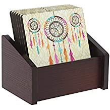 HomeStop IVY Dream Catcher Printed Coaster Set of 6 (Brown_Free Size)