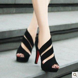 WZG Frau Fräulein Xia Ji Sandalen Casual Sandalen Schuhe mit hohen Absätzen hohlen Fischkopf High Heels Black