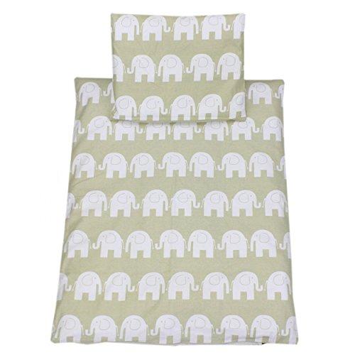 TupTam Baby Kinderwagen Bettwäsche Set Wiegenset 60x75 4 tlg, Farbe: Elefant Beige, Größe: ca. 60 x 75 cm