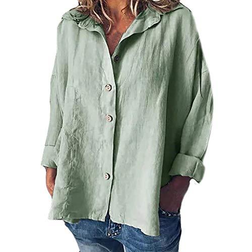 LOPILY Damen Leinen Cotton Tunika Sommer Button Down Bluse mit Holz Knopfen Freizeit Große Größen Shirts Sommer Herbst Oversize Lässige Tunika Modische Basic Fransen Bluse 60 58 56 (Armeegrün, 58)