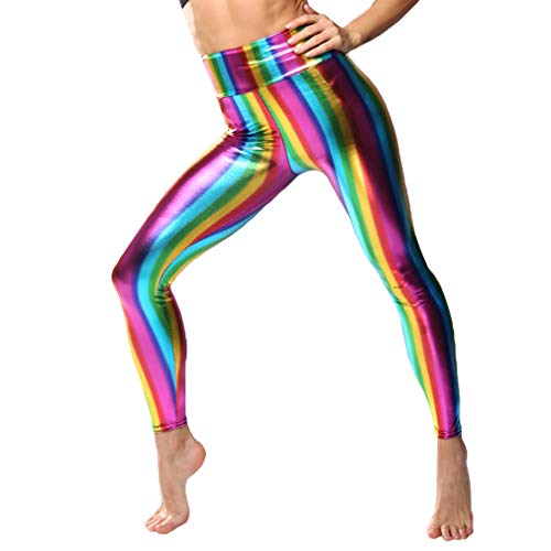 Metallic Kostüm Leggings - Hibote Frauen 80er Jahre Retro Metallic Leggings Adult Disco Kostüm Damen Outfit Hosen Shiny High Waist Leggings