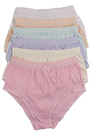 """Cottonique Ladies 6 Pairs Of Full Cotton Briefs In Choice Of Colours 36-54"""" Plus Sizes (36-38"""" (8-10), Assorted Pastels)"""