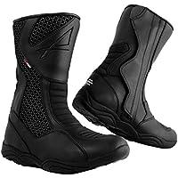 Details zu NEU Falco Ranger wasserdicht Urban Leder Motorrad Stiefel Kurz Stiefel schwarz