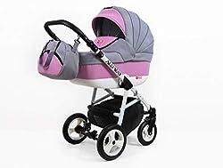 Wickeltasche Autositz Kinderwagen System 3 in1 Winterhandschuhe Raff Alu System Kinderwagen Babywagen Buggy Set 2w1: Wanne + Sportsitz, Light Pink Regenschutz +Insektenschutz
