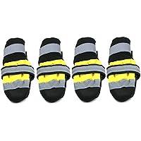 Delicacydex Zapatos para Mascotas de Invierno Botas Reflectantes Impermeables Lluvia Antideslizante Botas para la Nieve Calzado Calcetines Gruesos cálidos Botines para Gatos Perros - Amarillo M