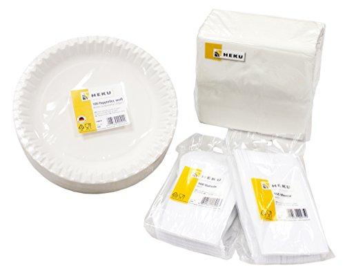 Weiße Party Pappteller (HEKU 30002-01 Einweg-Set, bestehend aus 100 Pappteller, 100 Messer, 100 Gabeln, 100 Prägeservietten)