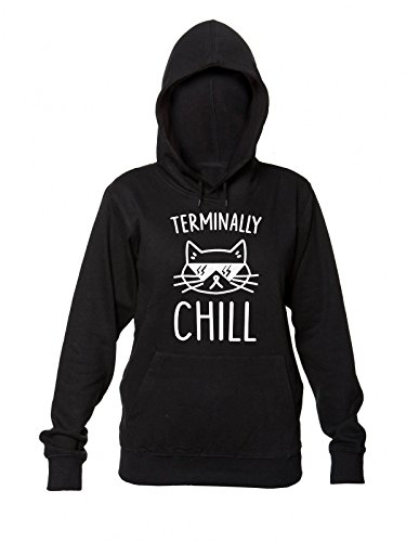 Terminally Chill Cool Cat With Sunglases Women's Hooded Sweatshirt Small (Hipster-sunglases)