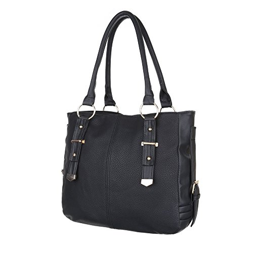 iTal-dEsiGn Damentasche Mittelgroße Schultertasche Used Optik Handtasche Kunstleder TA-C2151 Schwarz