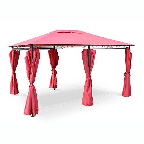 Tonnelle 3 x 4 m - Nicae - Toile Rouge - Pergola avec Rideaux, Tente de Jardin, Barnum, chapiteau, réception