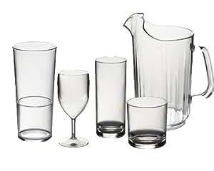 Roltex Offre spéciale Lot de réutilisable en plastique polycarbonate incassable Verres en extérieur. 6grands verres à vin (315ml), 6Verres Highball (325ml), 6Rocks/verres à jus (275ml), Lot de 6verres empilables 425,2gram (450ml) et 1Crystal Clear Ice à lèvres Pichet 1.4lt (49Manucures) voir articles individuels pour Tailles et volumes Exacts.