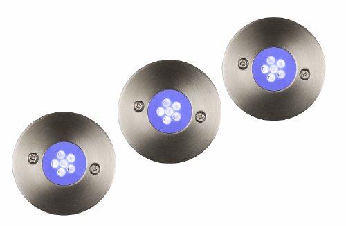 Lucide TRIO - Spot De Sol Exterieur Extérieur - Ø 6,5 cm - LED - IP67 - Chrome Dépoli - Ensemble de 3