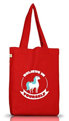 Unicorn Einhorn Jutebeutel Stoffbeutel Earth Positive mit Believe In Yourself Motiv Red
