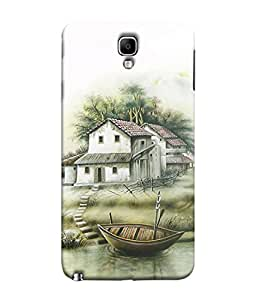 PrintVisa Designer Back Case Cover for Samsung Galaxy Note 3 Neo :: Samsung Galaxy Note 3 Neo Duos :: Samsung Galaxy Note 3 Neo 3G N750 :: Samsung Galaxy Note 3 Neo Lte+ N7505 :: Samsung Galaxy Note 3 Neo Dual Sim N7502 (Greenary White Green Photography landscape Wood Hut Illustration)