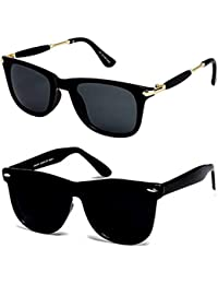 Y&S Uv Protected Non Polarized Wayfarer Boy's Girl's Men's & Women's Sunglasses Combo(Cm-Blk-Gldn-Stk+Blkblkwayf| 55| Black Blue)