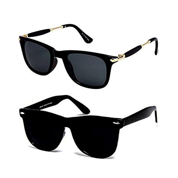 Y&S UV Protected Unisex Sunglasses(YS-Combo-Blk-Gldn-Stk-BlkBlkWayf-55|Blue)
