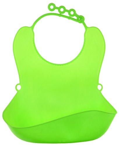 FiveSeasonStuff® Baby Lätzchen Wasserfestes aus weichem Silikon mit Auffangschale | Lätzchen für alle Halsgrößen (6 Monate +) (1 Stück Grün Baby Lätzchen Wasserfestes aus Weichem Silikon LM232) (Boot Bib Baby)