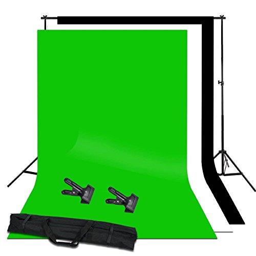 ULTRICS® Hintergrund Fotostudio, Schwarz Weiß Grün 3,2m x 1,6m Kulisse Chroma Key Bildschirm Hintergrund Stand Kit für Fotografie, Video und (Halloween Hintergründe Kostenlos)