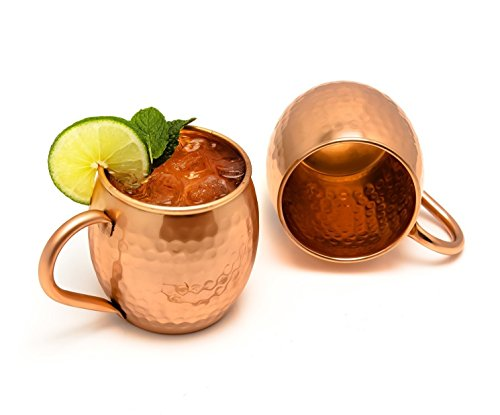 Hammered Copper Barrel Moscow Mule Conjunto de 2