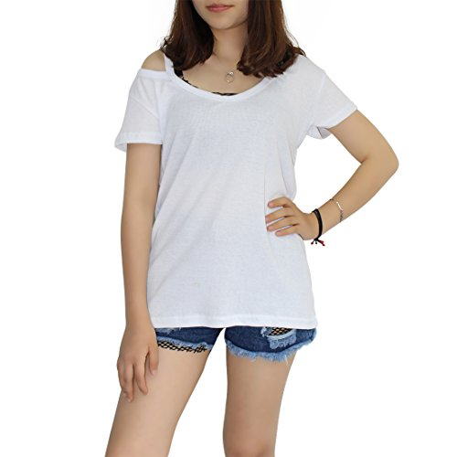 BienBien Sexy Casual V-Collo Off Shoulder Manica Corta T-Shirt Camicetta Camicia Allentati Tops Blusa Estiva Donna Bianca