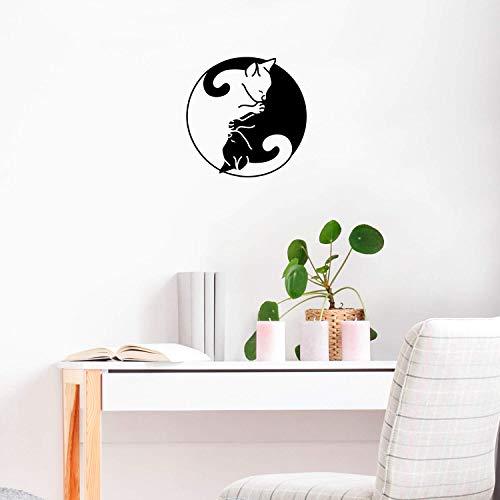 IMPRINTED DESIGNS WALL DECALS Vinyl-Wandaufkleber - Ying Yang Cats - 55,9 x 55,9 cm - niedliche, Trendige Kätzchen-Form für Haustierliebhaber, Wohnzimmer, Schlafsaal, Innendekoration