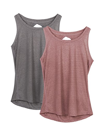 icyzone Damen Yoga Sport Tank Top - Rückenfrei Fitness Shirt Oberteil ärmellos Training Tops (XL, Grey/Mocha