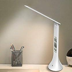 XIAOKOA Lampada da tavolo a LED, studio per la protezione degli occhi Lampada da lettura con luce notturna e luminosità a 3 livelli, Touch Sensitive Control, Twistable Tube, 14LED Table Lamp