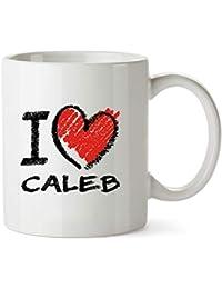 Idakoos I Love Caleb Chalk Style - Nombres Masculino - Taza