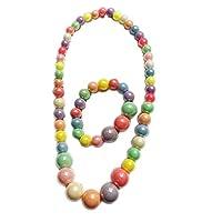 Childrens Beautiful Colorful Necklace Bracelet Set Kids Party Favor Pretend Costume Jewelry