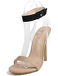 SHINIK Mujeres Ankle Strap Bombas Charm Goddess Essential Sección Transparent Film Sandalias de tacón alto Sandalias Zapatos de tacón abierto Zapatos Corte Beige , apricot , 39