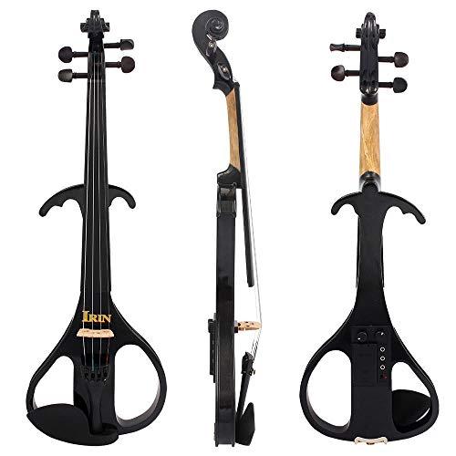 Pannow 4/4 Elektrische Violine Geige Fiddle Ahornholz Saiteninstrument Ebenholz Griffbrett Kinnstütze mit 6,35 mm Verbindungskabel Kopfhörer Tasche für Studenten Musikliebhaber Anfänger -