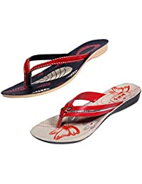 Indistar Women Comfortable Flip Flop House Slipper And Sandal-Cream/Red/Black+Red- Pack Of 2 Pairs - B072M7CMV6