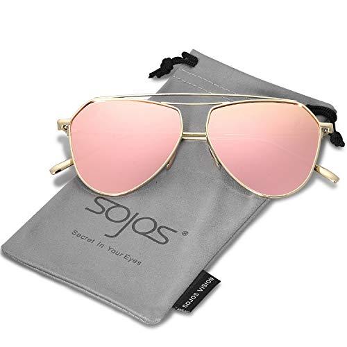 SOJOS Klassische Doppelte Flex Speicher Metall Brücken Flieger Verspiegelt Linsen Herren Damen Sonnenbrille SJ1040 mit Gold Rahmen/Rosa Linse
