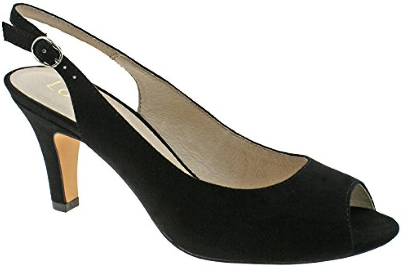 Lotus     Sommer Black Microfibre Sling Back Low Heeled Peep Toe Shoes -UK 6 (EU 40)B0786PBG5QParent 672d46