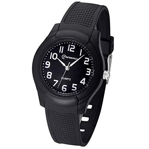 Kinder Analoge Uhren,Jungen Mädchen Armbanduhr wasserdichte Leicht zu Lesen Zeit Weicher Riemen Armbanduhren Geschenk für Kinder (Schwarz)