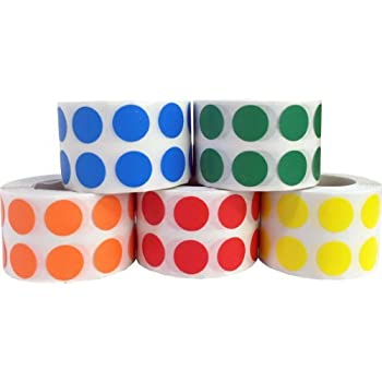 Circle Dot Stickers 5 Colour Pack, 13 mm 1/2 Inch Round, 1000