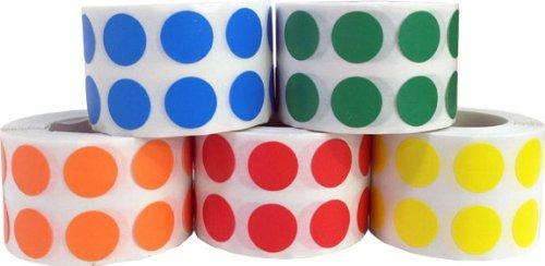 Circulo Punto Pegatinas 5 Color Paquete, 13 mm 1/2 Pulgada Redondo, 1000 Etiquetas de cada Color en un Rollo