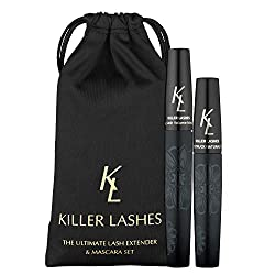 KL Killer Wimpern Ultimate Fiber Lash Extender und Mascara | 9ml und 6ml Set | 3D Moonstruck Black Edition - mit Reisetasche | Maximiert Lautstärke und Länge | Erziele jetzt Killerwimpern