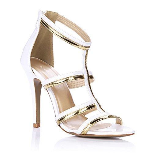 Green Schuhe Heel High Glitter (Sandalen weiblichen neuen Tanz Abend der high-heel Schuhe große weiße Gold band Kinder Schuhe, weiße)