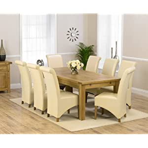 Corona oak dining furniture extra large extending dining table 8 Barcelona chairs