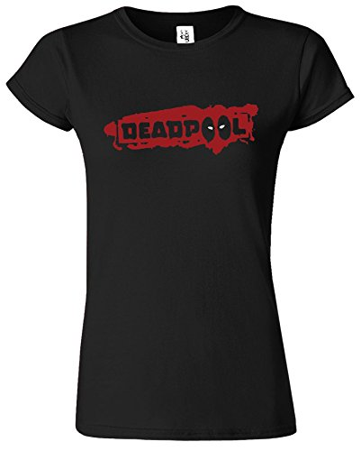 DEAD POOL Comic-Superheld -Damen-Hemd Top Villain Loose fit Schwarz (Black) / Rot Design