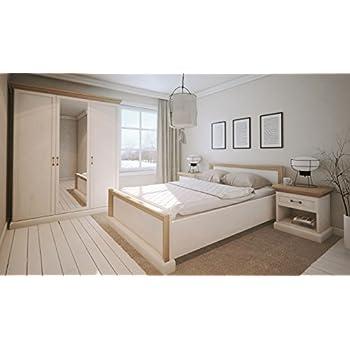 Schlafzimmer Komplett - Set E Badile, 4-teilig, Farbe: Kiefer Weiß ...