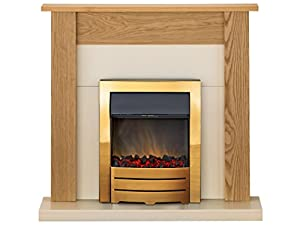 Adam Southwold Fireplace Suite in Oak with Colorado Electric Fire in Brass, 43 Inch