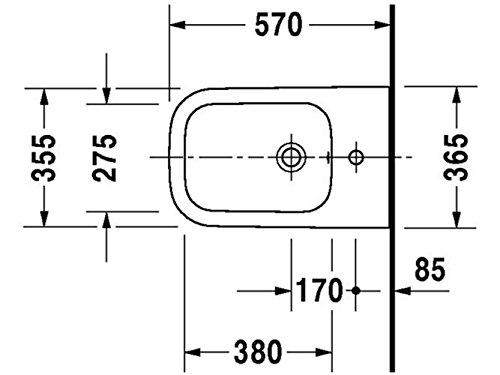 Duravit Happy D.2 Stand-Bidet weiß 365 x 570 mm, mit Wondergliss, 22671000001