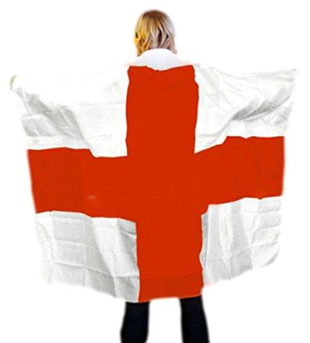 erdbeerloft - Karneval Kostüm Accessoire Cape England Flagge, Rot Weiß