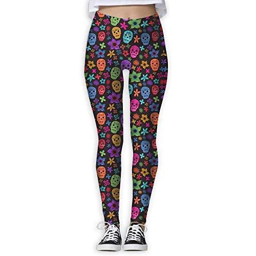 7a9f4fca7e48c Deglogse Yoga Pants,Workout Leggings,Flower Sugar Skull Garden Women's  Tummy Control Sports Running