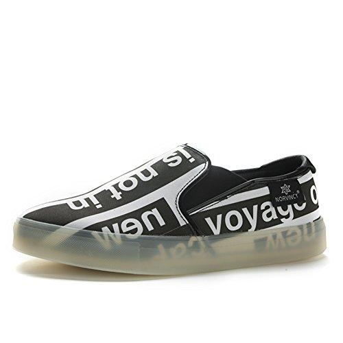 Chaussures Décontractées Mâle Adolescente Dress Outdoor Chaussures De Toile De Mode Slip On Noir Noir Personnalité