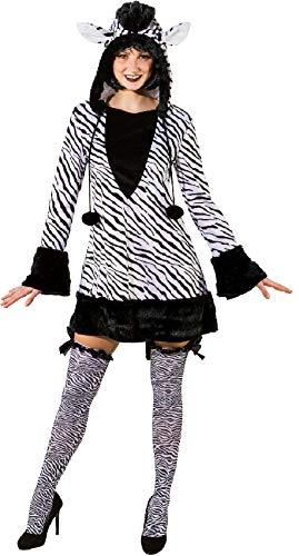 Zebra Kapuzen Kostüm Sexy - narrenkiste O9414-38-40 schwarz-weiß Damen Sexy Zebra Kleid Kostüm mit Kapuze Gr.38-40
