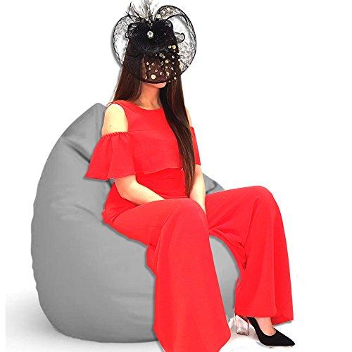 Sitzsack Sessel XL - XXL mit Füllung - für Kinder und erwachsene - In & Outdoor Sitzsäcke Kissen Sofa Hocker Sitzkissen Bodenkissen (XL ca.68cm Durchmesser, Grau) -