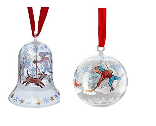Hutschenreuther 1814 Lot de 2 clochettes de Noël et Boules de Noël en Verre